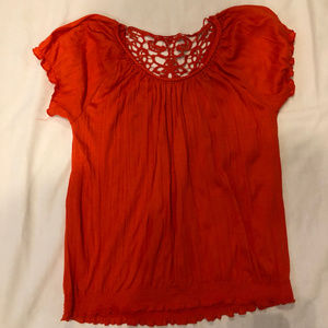 New Directions Boho Crochet Gauze Crochet back Top